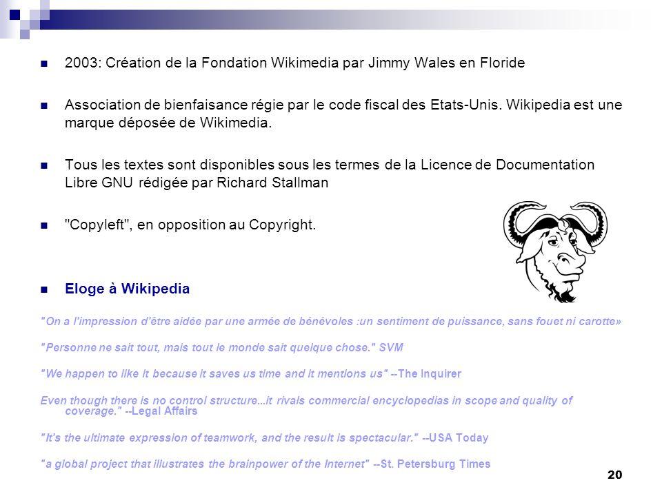 20 2003: Création de la Fondation Wikimedia par Jimmy Wales en Floride Association de bienfaisance régie par le code fiscal des Etats-Unis. Wikipedia