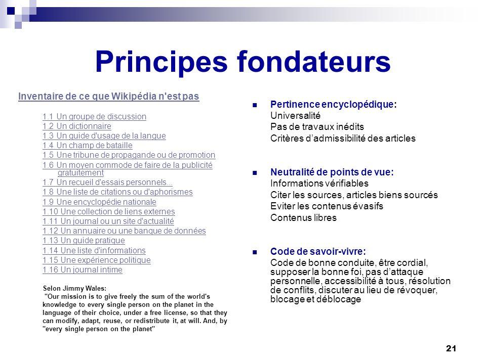 21 Principes fondateurs Inventaire de ce que Wikipédia n'est pas 1.1 Un groupe de discussion 1.2 Un dictionnaire 1.3 Un guide d'usage de la langue 1.4