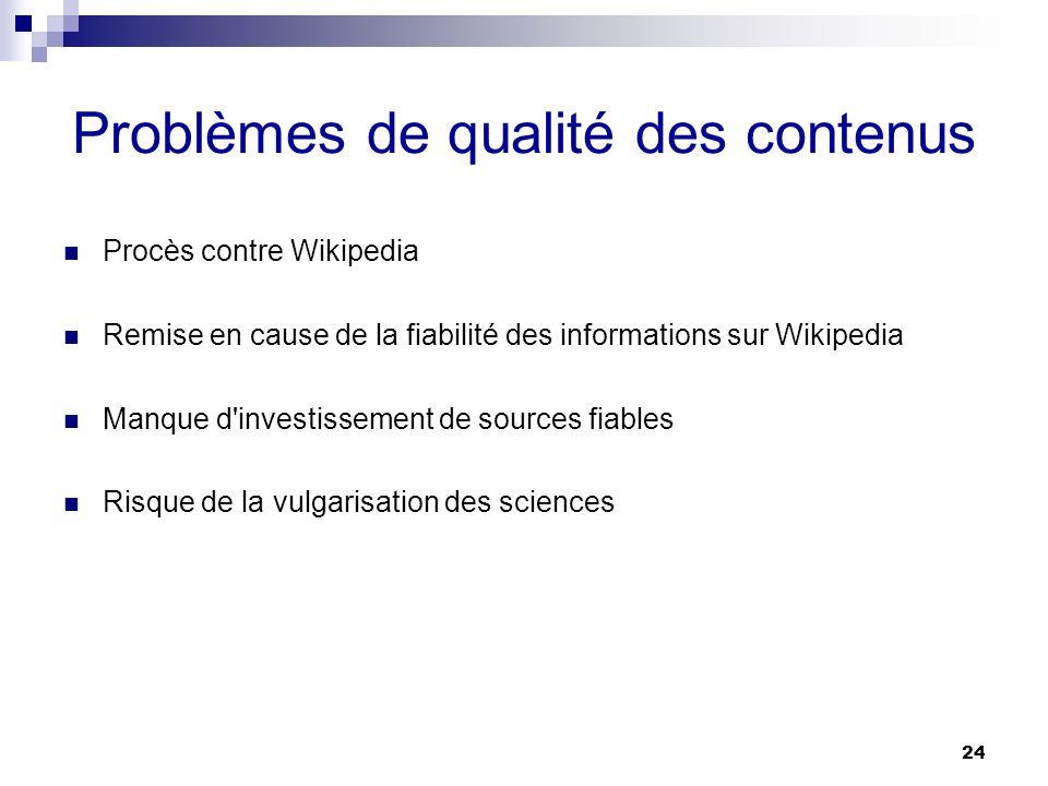 24 Problèmes de qualité des contenus Procès contre Wikipedia Remise en cause de la fiabilité des informations sur Wikipedia Manque d'investissement de