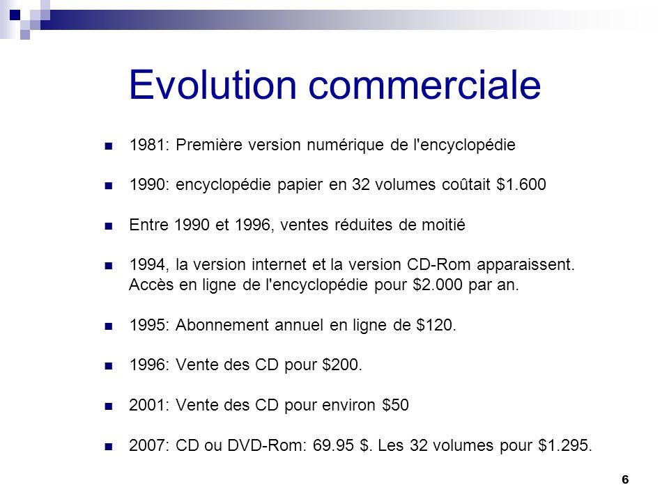 6 Evolution commerciale 1981: Première version numérique de l'encyclopédie 1990: encyclopédie papier en 32 volumes coûtait $1.600 Entre 1990 et 1996,