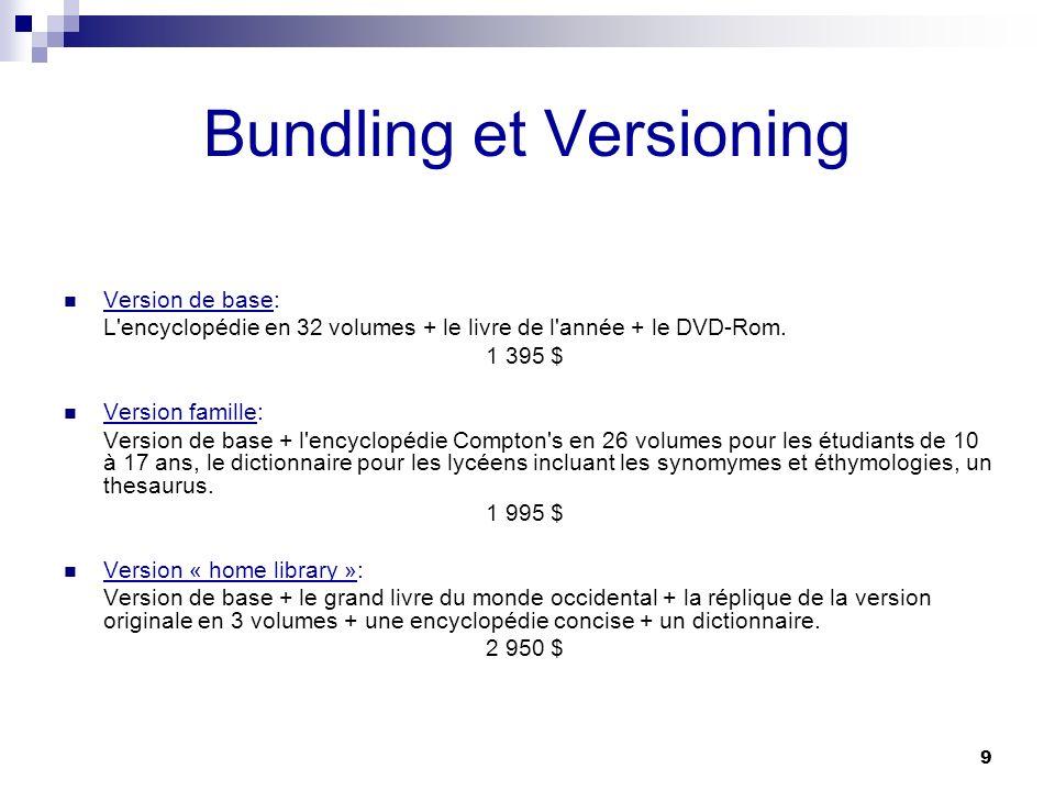 9 Bundling et Versioning Version de base: L'encyclopédie en 32 volumes + le livre de l'année + le DVD-Rom. 1 395 $ Version famille: Version de base +