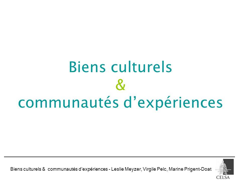 Biens culturels & communautés dexpériences - Leslie Meyzer, Virgile Pelc, Marine Prigent-Doat Biens culturels & communautés dexpériences
