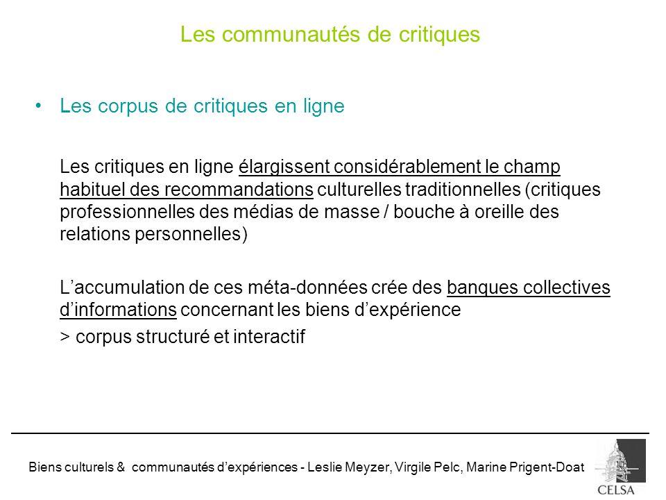 Biens culturels & communautés dexpériences - Leslie Meyzer, Virgile Pelc, Marine Prigent-Doat Les corpus de critiques en ligne Les critiques en ligne