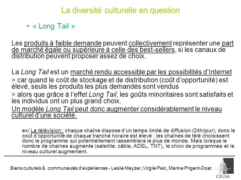 Biens culturels & communautés dexpériences - Leslie Meyzer, Virgile Pelc, Marine Prigent-Doat La diversité culturelle en question « Long Tail » Les pr