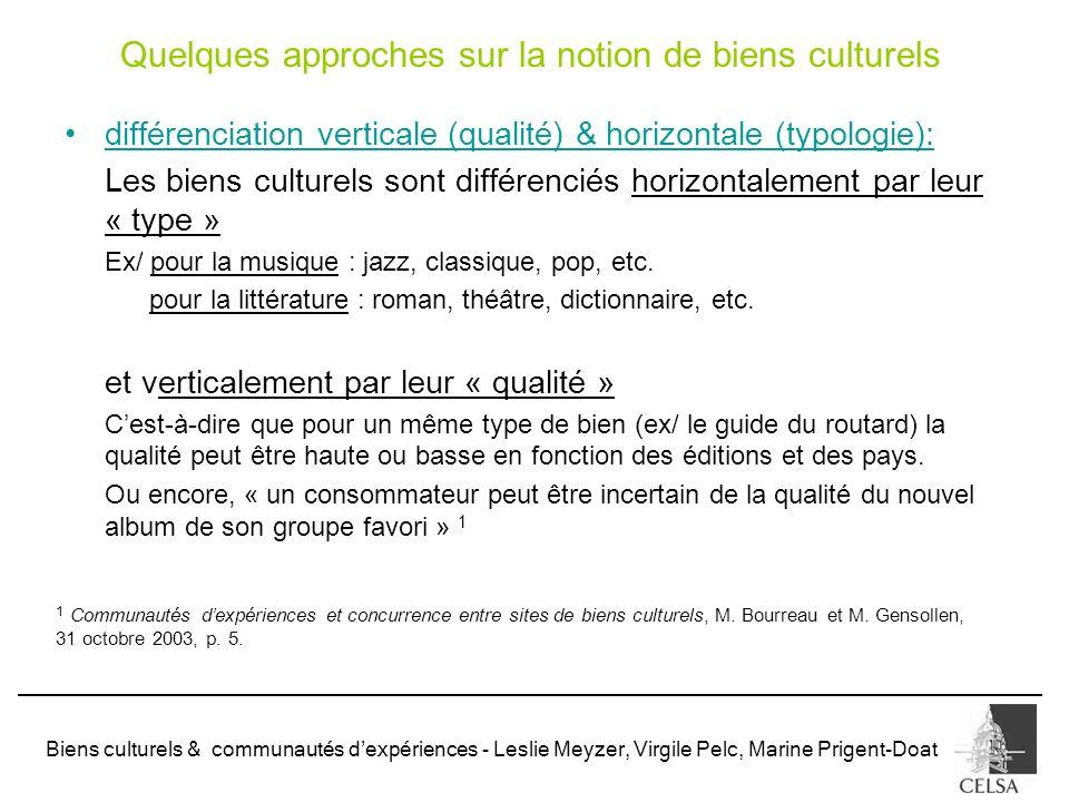 Biens culturels & communautés dexpériences - Leslie Meyzer, Virgile Pelc, Marine Prigent-Doat différenciation verticale (qualité) & horizontale (typol