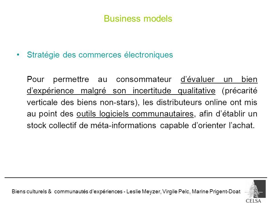 Biens culturels & communautés dexpériences - Leslie Meyzer, Virgile Pelc, Marine Prigent-Doat Stratégie des commerces électroniques Pour permettre au