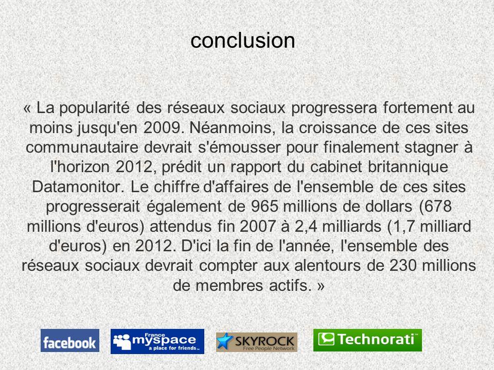 conclusion « La popularité des réseaux sociaux progressera fortement au moins jusqu'en 2009. Néanmoins, la croissance de ces sites communautaire devra