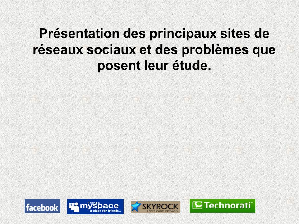 Présentation des principaux sites de réseaux sociaux et des problèmes que posent leur étude.