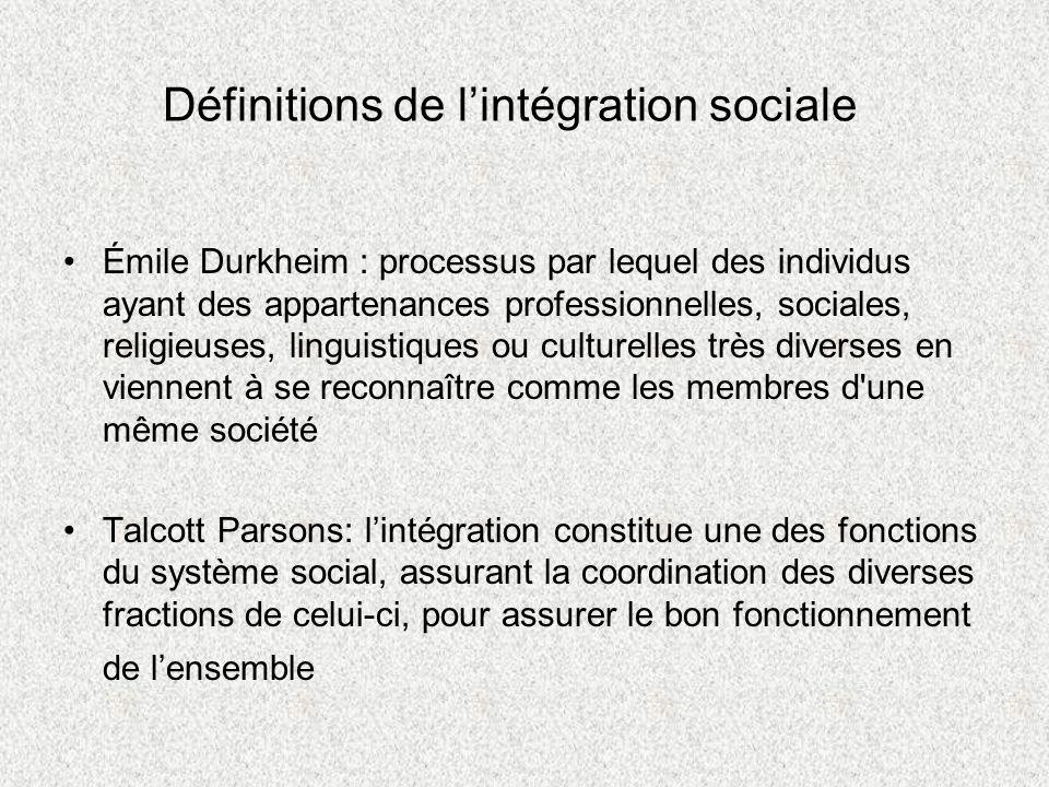 Définitions de lintégration sociale Émile Durkheim : processus par lequel des individus ayant des appartenances professionnelles, sociales, religieuse