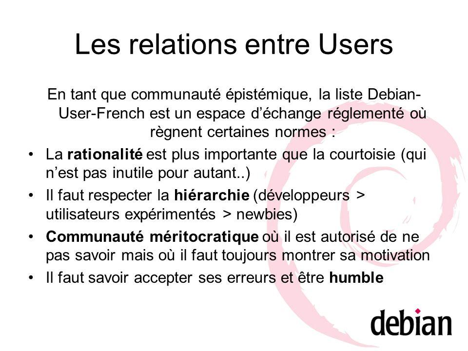 Les relations entre Users En tant que communauté épistémique, la liste Debian- User-French est un espace déchange réglementé où règnent certaines norm