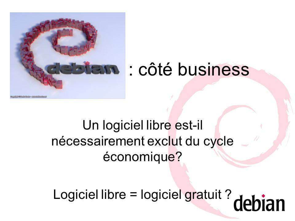 : côté business Un logiciel libre est-il nécessairement exclut du cycle économique? Logiciel libre = logiciel gratuit ?