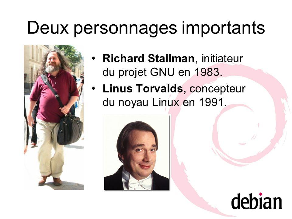 Deux personnages importants Richard Stallman, initiateur du projet GNU en 1983. Linus Torvalds, concepteur du noyau Linux en 1991.