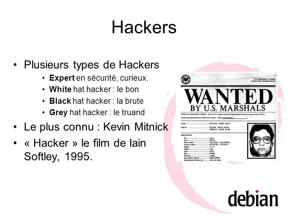 Hackers Plusieurs types de Hackers Expert en sécurité, curieux. White hat hacker : le bon Black hat hacker : la brute Grey hat hacker : le truand Le p