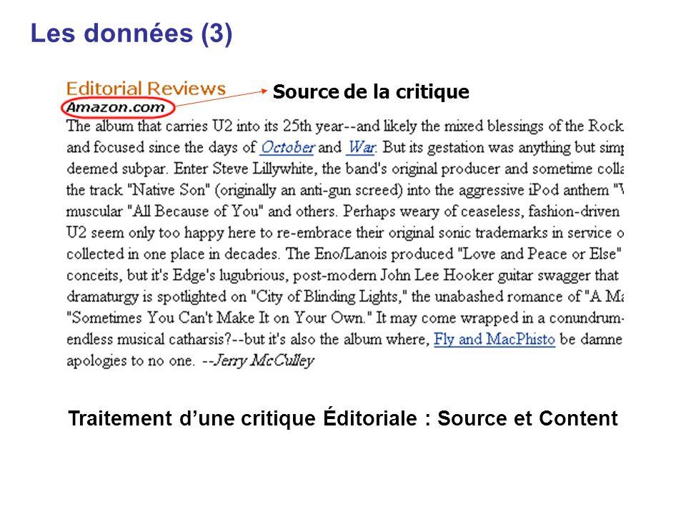 Traitement dune critique Éditoriale : Source et Content Source de la critique Les données (3)