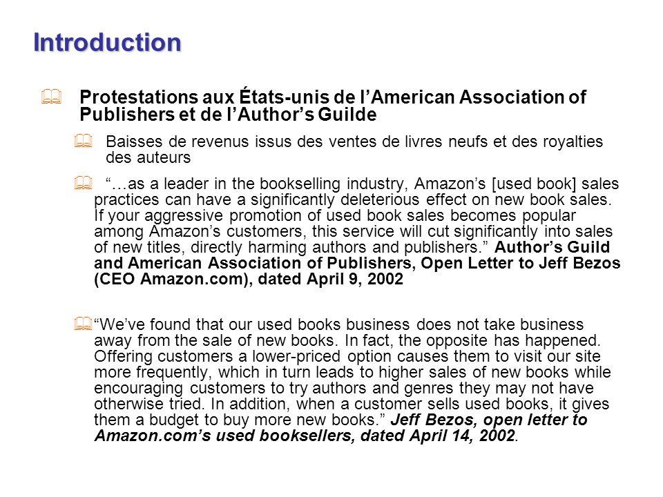 Introduction Protestations aux États-unis de lAmerican Association of Publishers et de lAuthors Guilde Baisses de revenus issus des ventes de livres n