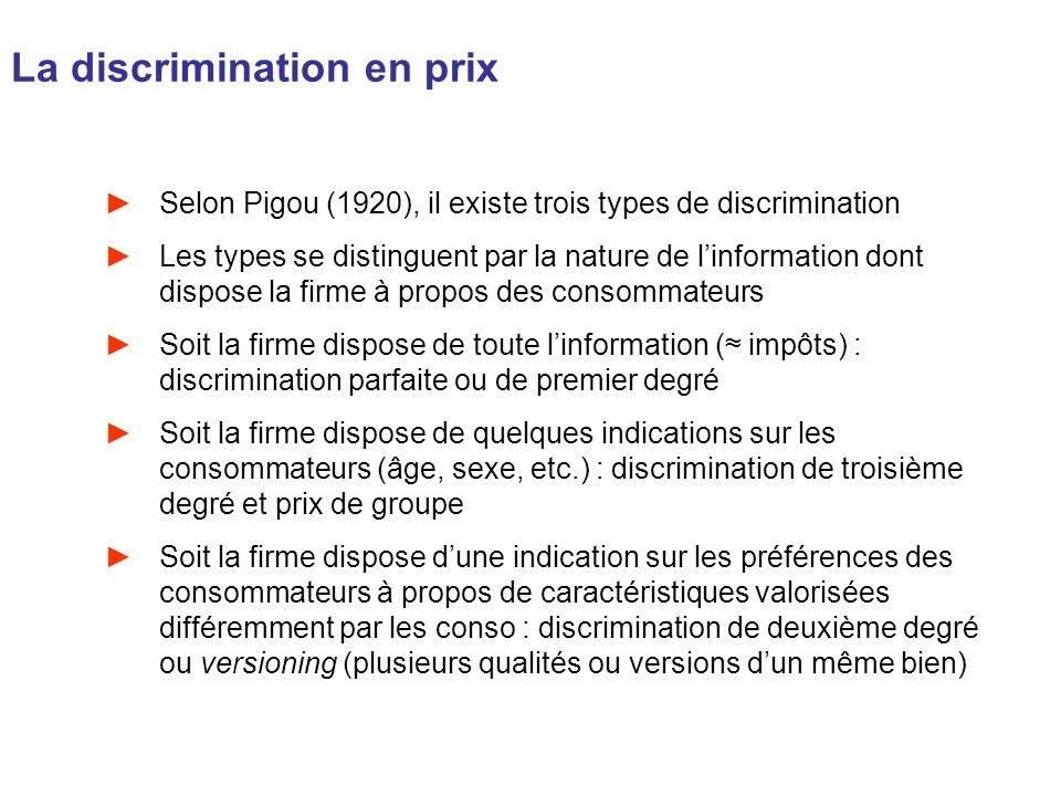 La discrimination en prix Selon Pigou (1920), il existe trois types de discrimination Les types se distinguent par la nature de linformation dont disp