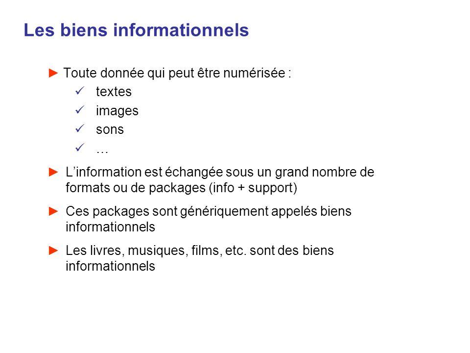 Les biens informationnels Toute donnée qui peut être numérisée : textes images sons … Linformation est échangée sous un grand nombre de formats ou de