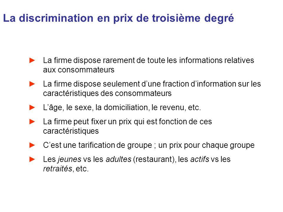 La discrimination en prix de troisième degré La firme dispose rarement de toute les informations relatives aux consommateurs La firme dispose seulemen