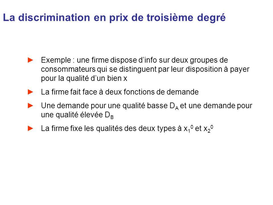 La discrimination en prix de troisième degré Exemple : une firme dispose dinfo sur deux groupes de consommateurs qui se distinguent par leur dispositi