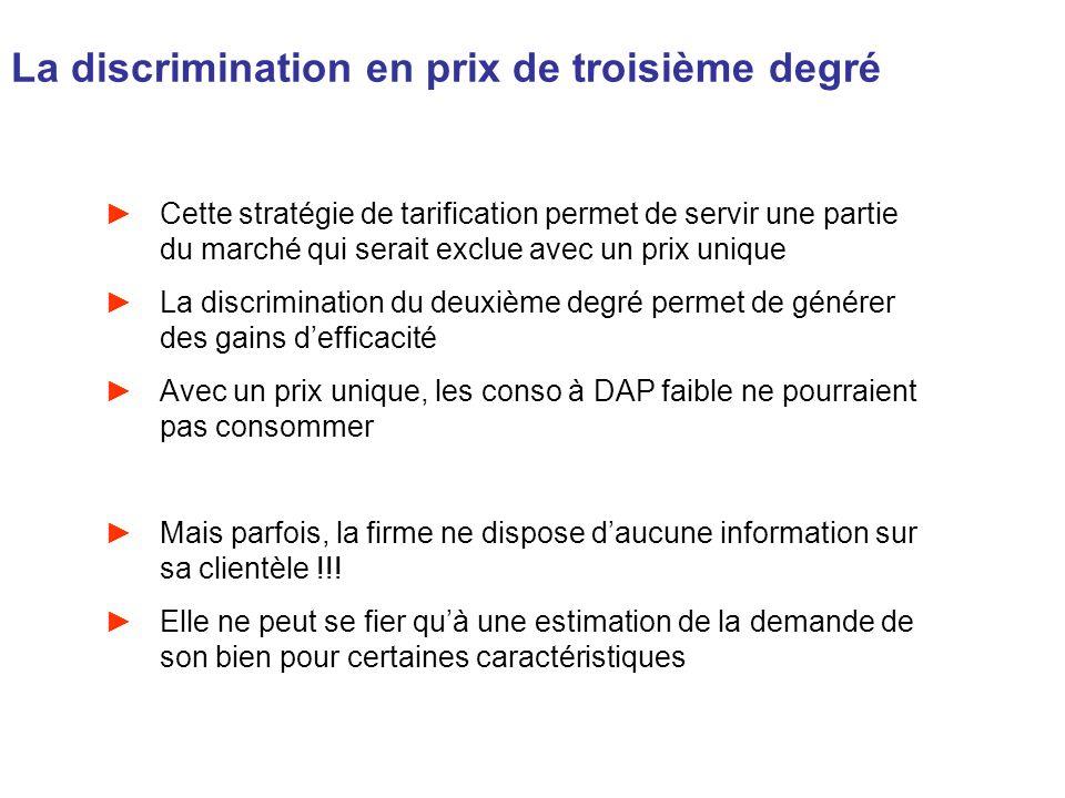 La discrimination en prix de troisième degré Cette stratégie de tarification permet de servir une partie du marché qui serait exclue avec un prix uniq
