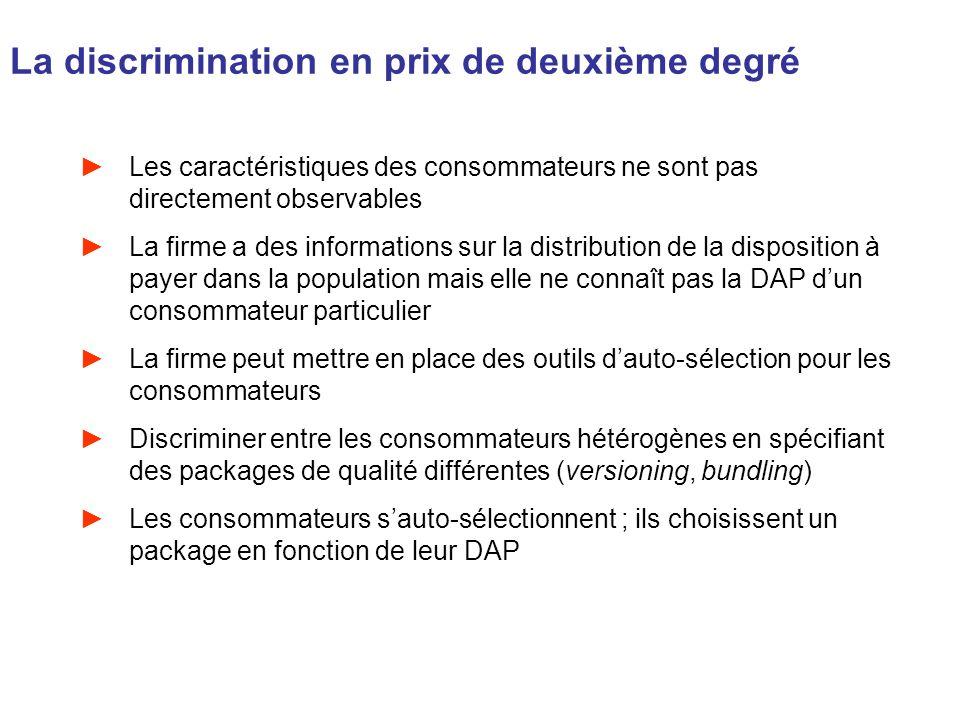 La discrimination en prix de deuxième degré Les caractéristiques des consommateurs ne sont pas directement observables La firme a des informations sur