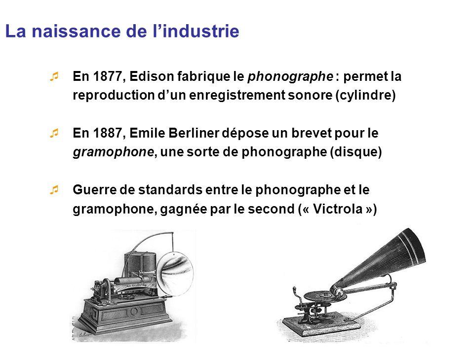La naissance de lindustrie En 1877, Edison fabrique le phonographe : permet la reproduction dun enregistrement sonore (cylindre) En 1887, Emile Berlin