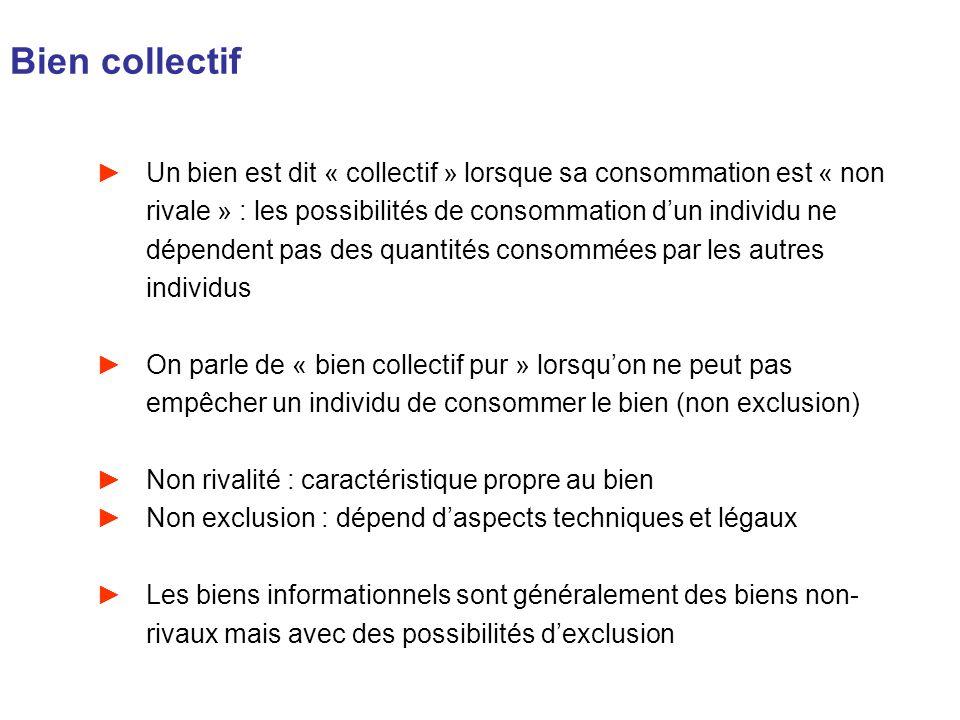 Bien collectif Un bien est dit « collectif » lorsque sa consommation est « non rivale » : les possibilités de consommation dun individu ne dépendent p