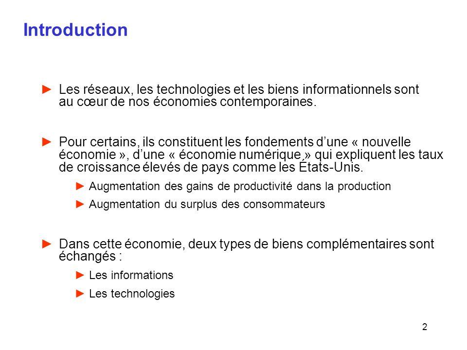 2 Introduction Les réseaux, les technologies et les biens informationnels sont au cœur de nos économies contemporaines. Pour certains, ils constituent