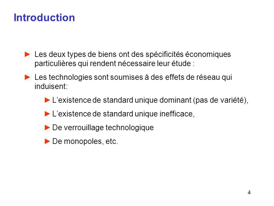 4 Introduction Les deux types de biens ont des spécificités économiques particulières qui rendent nécessaire leur étude : Les technologies sont soumis