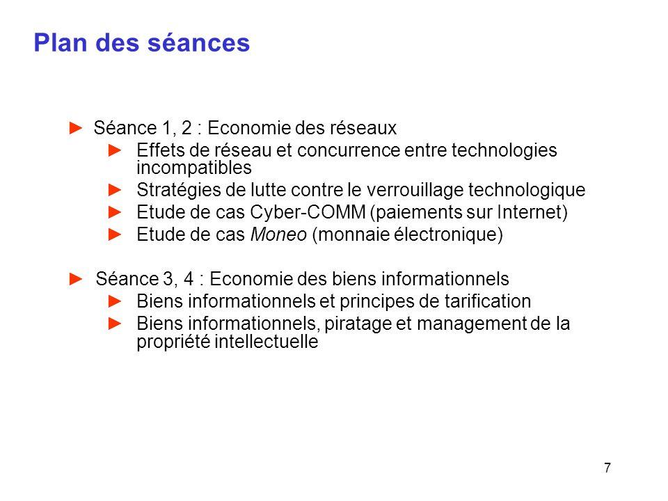 7 Plan des séances Séance 1, 2 : Economie des réseaux Effets de réseau et concurrence entre technologies incompatibles Stratégies de lutte contre le v