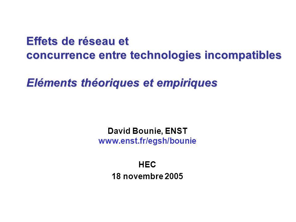 Effets de réseau et concurrence entre technologies incompatibles Eléments théoriques et empiriques David Bounie, ENST www.enst.fr/egsh/bounie HEC 18 n