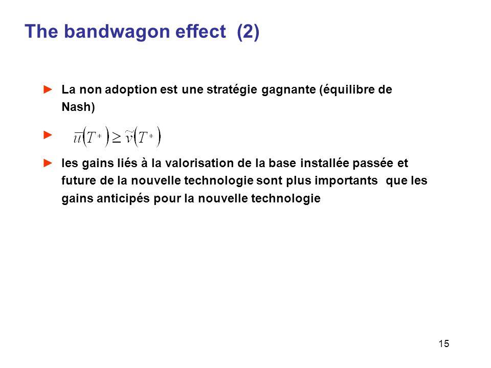 15 The bandwagon effect (2) La non adoption est une stratégie gagnante (équilibre de Nash) les gains liés à la valorisation de la base installée passé