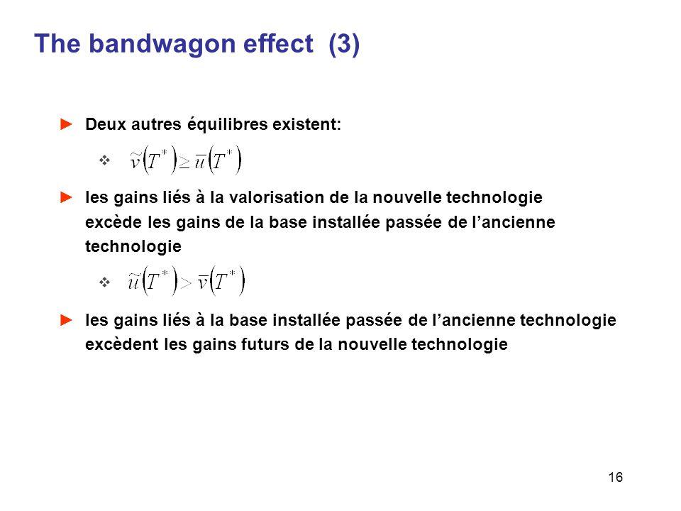 16 The bandwagon effect (3) Deux autres équilibres existent: les gains liés à la valorisation de la nouvelle technologie excède les gains de la base i