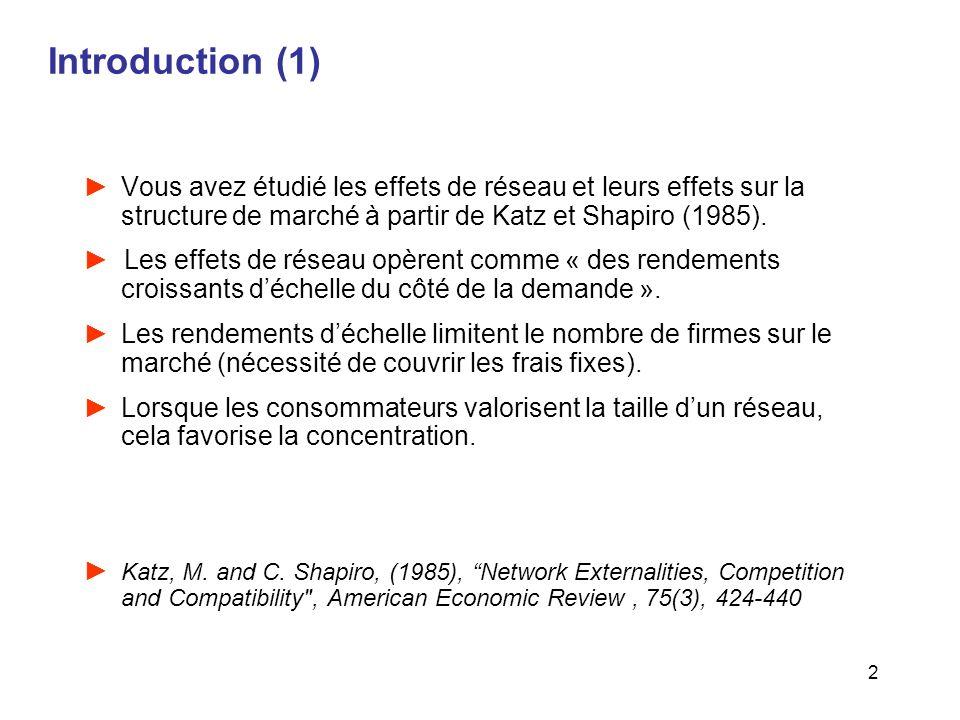 2 Introduction (1) Vous avez étudié les effets de réseau et leurs effets sur la structure de marché à partir de Katz et Shapiro (1985). Les effets de