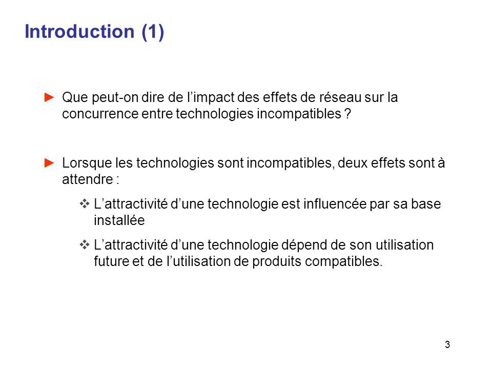 3 Introduction (1) Que peut-on dire de limpact des effets de réseau sur la concurrence entre technologies incompatibles ? Lorsque les technologies son