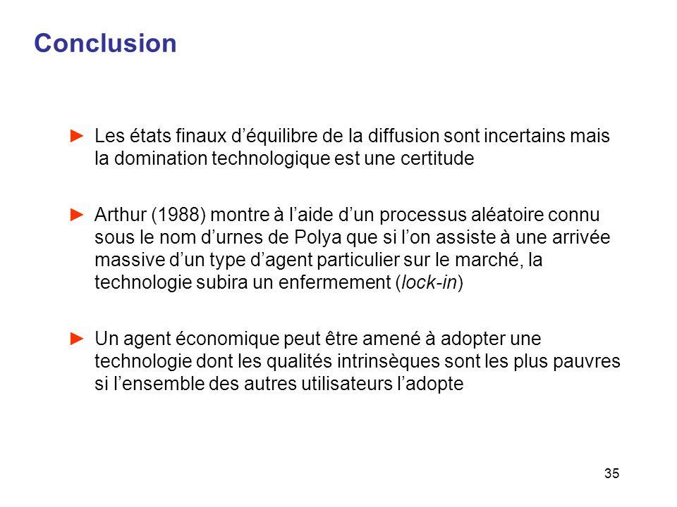 35 Conclusion Les états finaux déquilibre de la diffusion sont incertains mais la domination technologique est une certitude Arthur (1988) montre à la