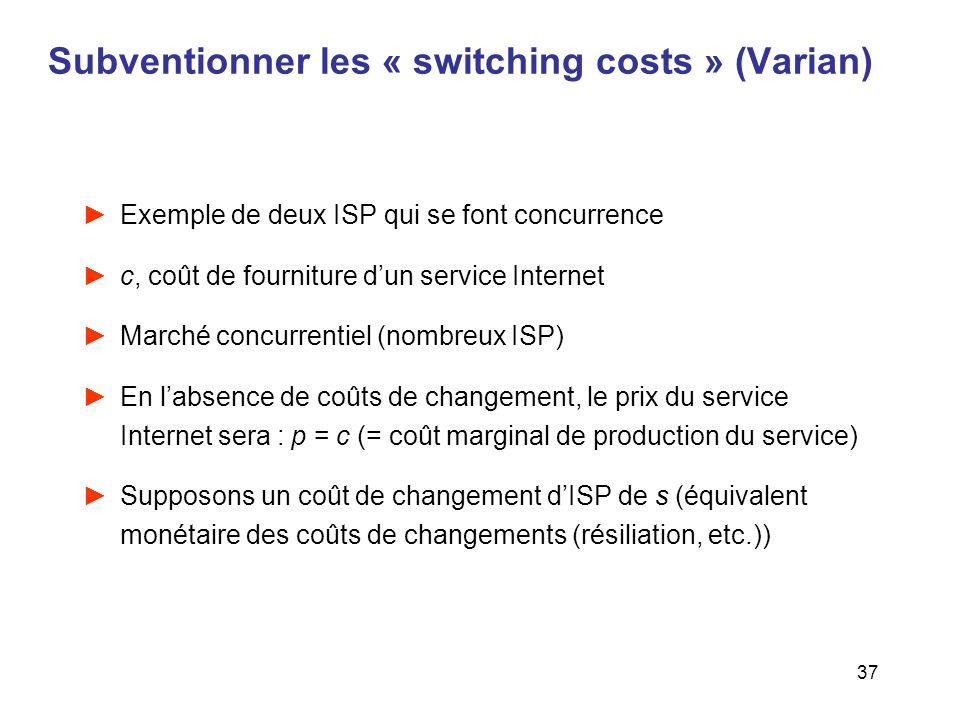 37 Subventionner les « switching costs » (Varian) Exemple de deux ISP qui se font concurrence c, coût de fourniture dun service Internet Marché concur