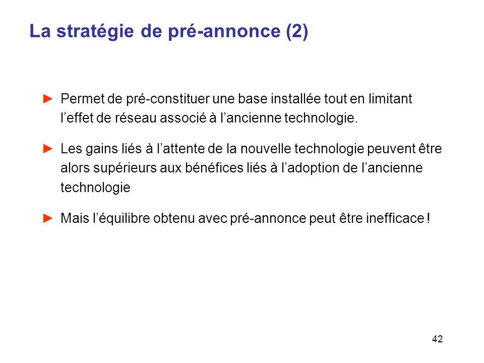 42 La stratégie de pré-annonce (2) Permet de pré-constituer une base installée tout en limitant leffet de réseau associé à lancienne technologie. Les