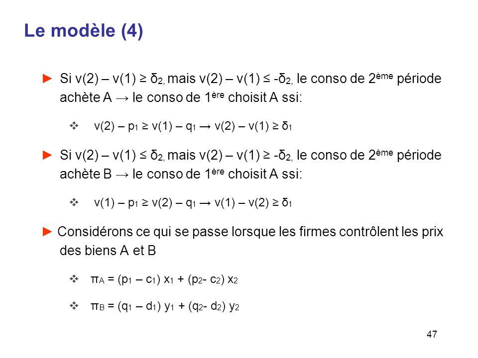 47 Le modèle (4) Si v(2) – v(1) δ 2, mais v(2) – v(1) -δ 2, le conso de 2 ème période achète A le conso de 1 ère choisit A ssi: v(2) – p 1 v(1) – q 1