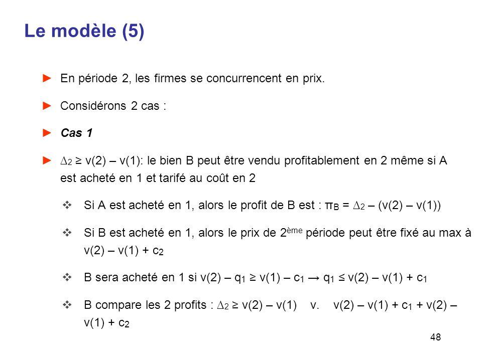 48 Le modèle (5) En période 2, les firmes se concurrencent en prix. Considérons 2 cas : Cas 1 2 v(2) – v(1): le bien B peut être vendu profitablement