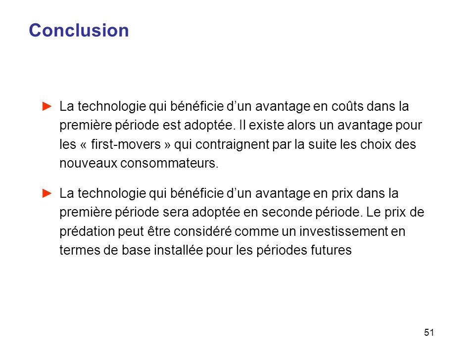 51 Conclusion La technologie qui bénéficie dun avantage en coûts dans la première période est adoptée. Il existe alors un avantage pour les « first-mo