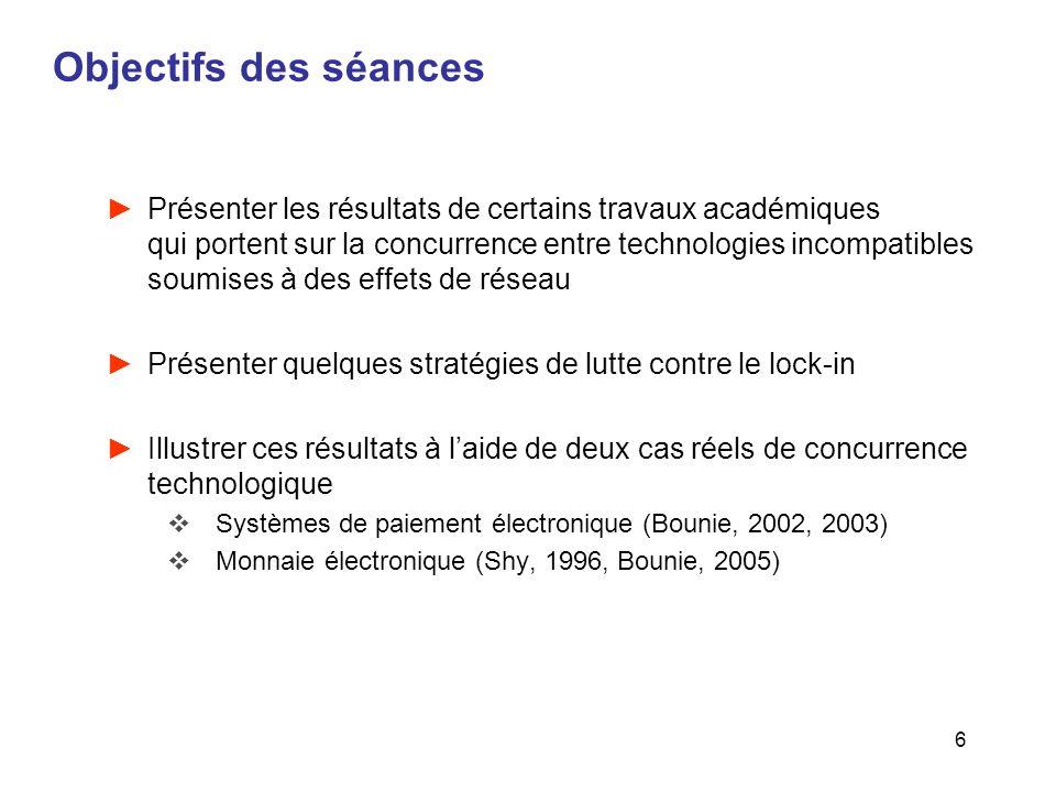 6 Objectifs des séances Présenter les résultats de certains travaux académiques qui portent sur la concurrence entre technologies incompatibles soumis