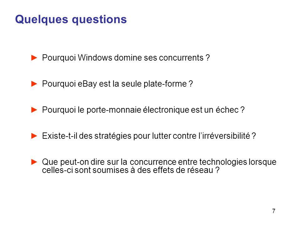 7 Quelques questions Pourquoi Windows domine ses concurrents ? Pourquoi eBay est la seule plate-forme ? Pourquoi le porte-monnaie électronique est un