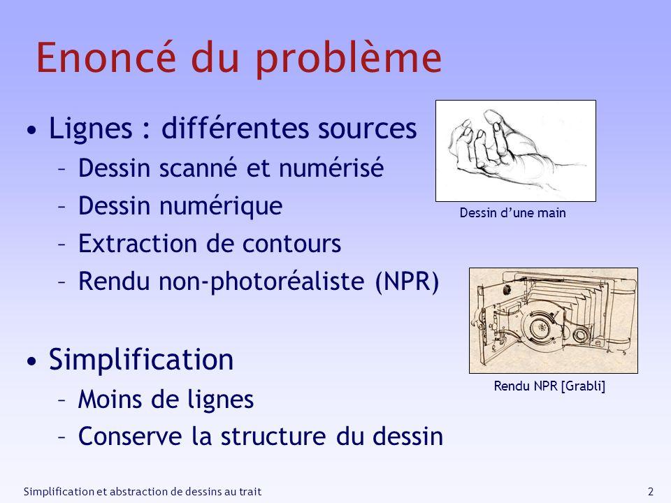 2Simplification et abstraction de dessins au trait Enoncé du problème Lignes : différentes sources –Dessin scanné et numérisé –Dessin numérique –Extra