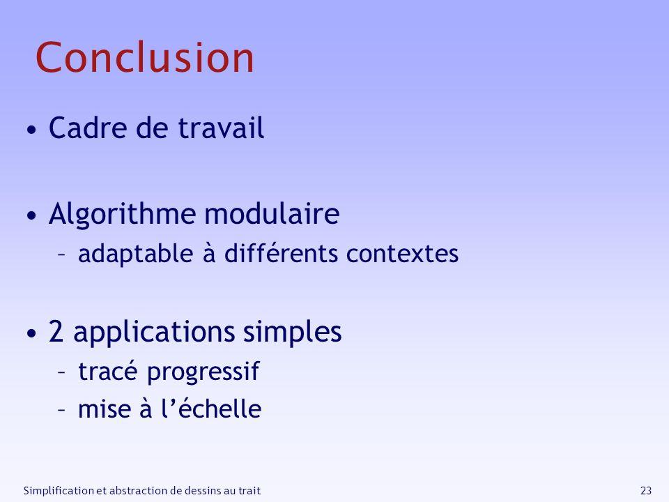 23Simplification et abstraction de dessins au trait Conclusion Cadre de travail Algorithme modulaire –adaptable à différents contextes 2 applications