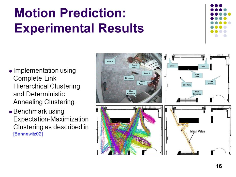 16 Motion Prediction: Experimental Results Implementation using Complete-Link Hierarchical Clustering and Deterministic Annealing Clustering.