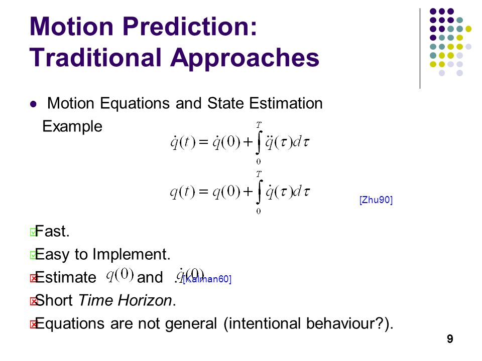 9 Motion Prediction: Traditional Approaches Motion Equations and State Estimation Example Fast.