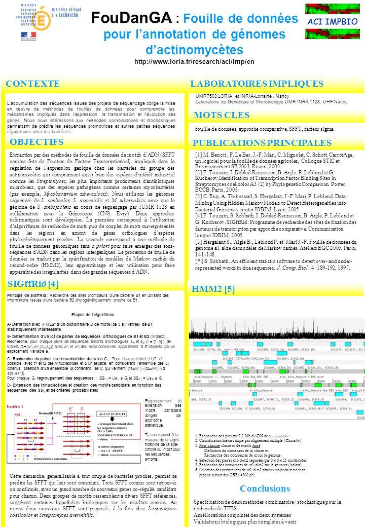 OBJECTIFS FouDanGA : Fouille de données pour lannotation de génomes dactinomycètes http://www.loria.fr/research/aci/imp/en CONTEXTE Laccumulation des séquences issues des projets de séquençage oblige la mise en œuvre de méthodes de fouilles de données pour comprendre les mécanismes impliqués dans lexpression, la transmission et lévolution des gènes.
