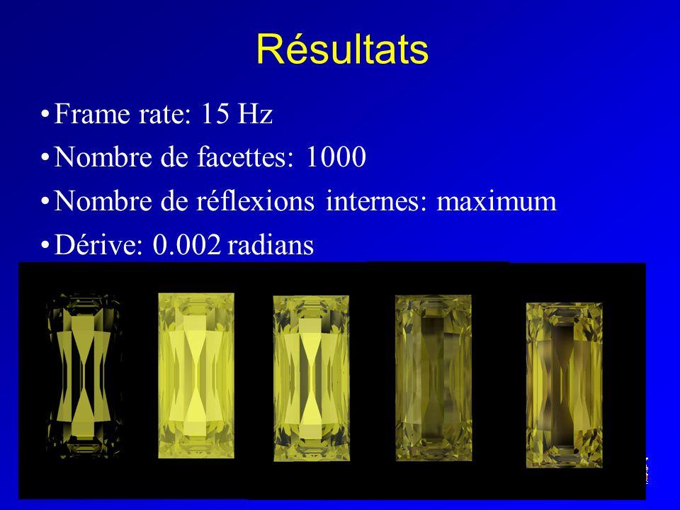 iMAGIS-GRAVIR / IMAG Résultats Frame rate: 15 Hz Nombre de facettes: 1000 Nombre de réflexions internes: maximum Dérive: 0.002 radians