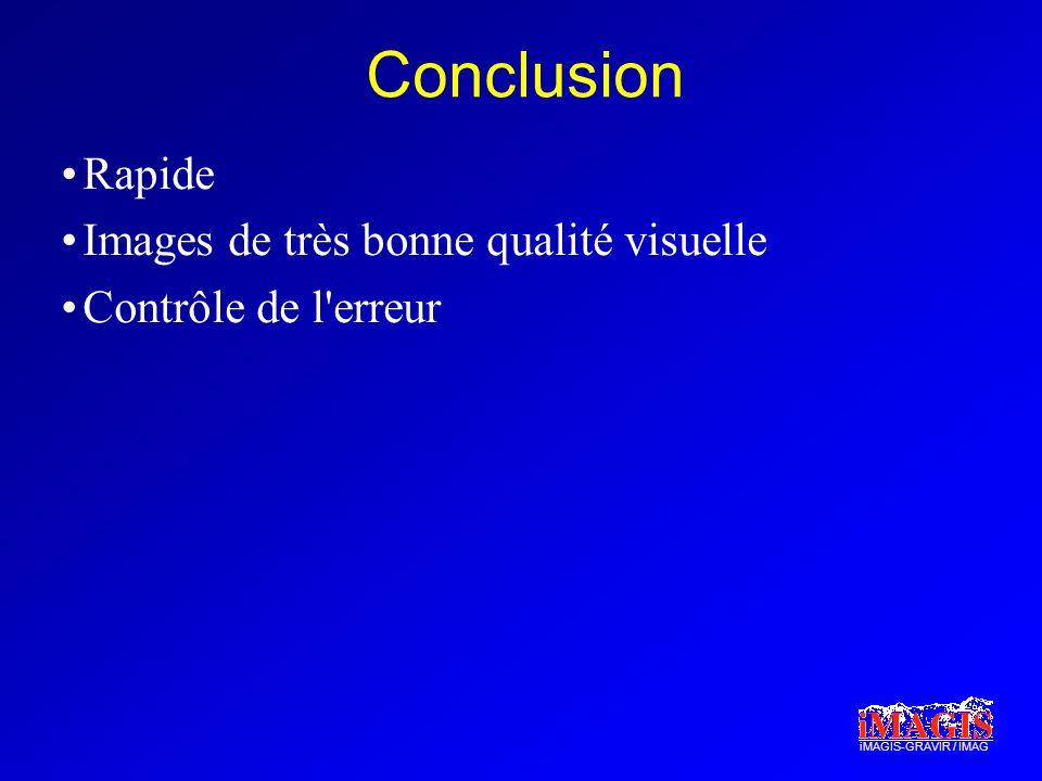 iMAGIS-GRAVIR / IMAG Conclusion Rapide Images de très bonne qualité visuelle Contrôle de l erreur